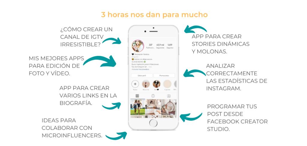 Mentoría de 3 horas PERSONALIZADA online de Instagram